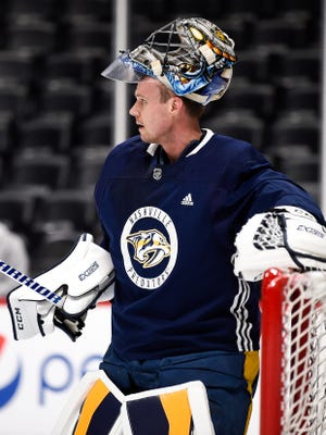 Nashville Predators goaltender Pekka Rinne (35) during practice at the Pepsi Center, Tuesday, April 17, 2018, in Denver, Colo.