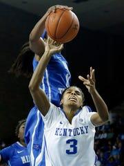 Kentucky guard Janee Thompson (3) has her shot blocked