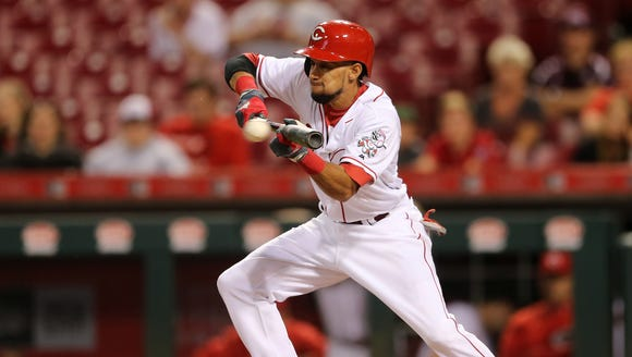 Cincinnati Reds center fielder Billy Hamilton (6) lays
