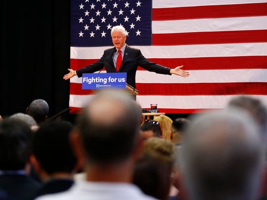 Former president Bill Clinton speaks while campaigning for Hillary Clinton on May 13, 2016, at Passaic County Community College in Paterson, N.J.