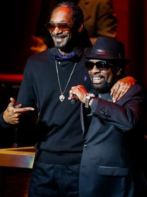 Snoop Dogg (right) performs with Memphis Music Hall of Fame inductee Stax Records star William Bell (left) Thursday evening during a ceremony at the Cannon Center.