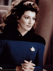 "Marina Sirtis as Deanna Troi on ""Star Trek: The Next Generation"""