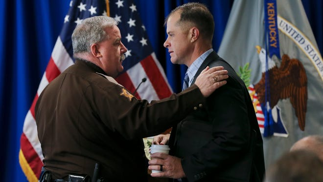 Marshall County Sheriff Kevin Byars, left, greeted Paducah Police Chief Brandon Barnhill just before they attended remarks by U.S. Attorney General Jeff Sessions at the U.S. Attorney's Office, Western District of Kentucky. Byars arrested the alleged shooter in the Marshall County High School shootings. Jan. 30, 2017
