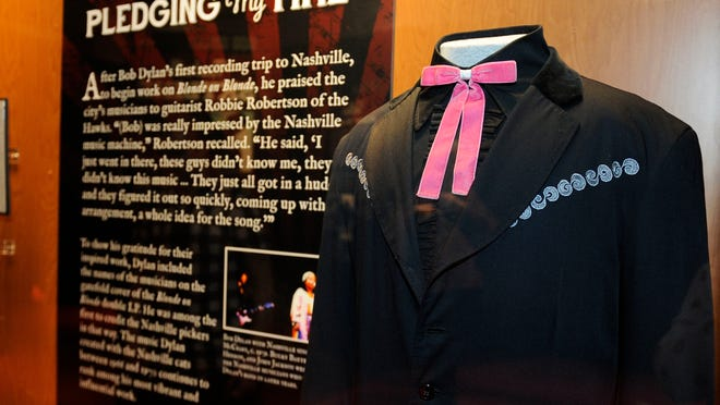 """Bob Dylan's signature western outfit can be seen in the """"Dylan, Cash & the Nashville Cats"""" exhibit at the Country Music Hall of Fame."""