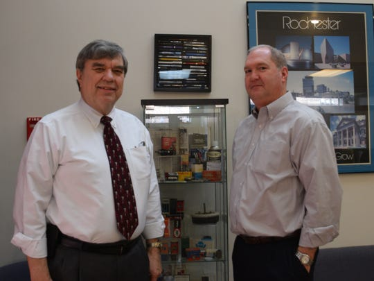 Glenn Masline, left, and Jim Gerling at Masline Electronics.