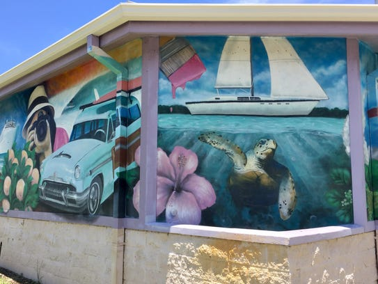The Eau Gallie Square bandshell mural.