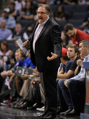 Pistons coach Stan Van Gundy coaches during the first half Sunday in Memphis.