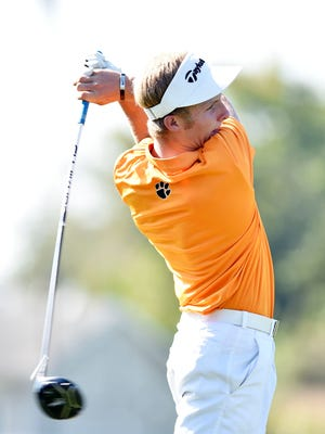Central York's Carson Bacha tees off during the YAIAA golf team championship Wednesday, Sept. 27, 2017, at Briarwood Golf Club.