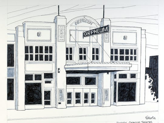 A photo of an illustration of the Orpheum Theater Centre