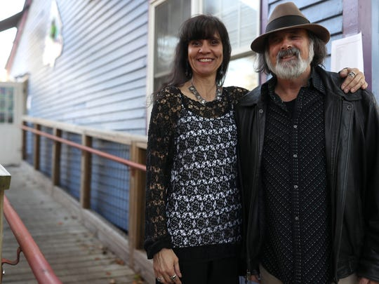 """Michael Rothenberg and Terri Carrion, organizers,""""A World With Guns: Poems of Protest and Memorial"""" a reading held at Black Dog Cafe in Railroad Square on Thursday, March 22, 2018"""