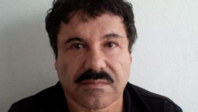 "Mugshot of Mexican drug trafficker Joaquin Guzman Loera, aka ""el Chapo Guzman."""
