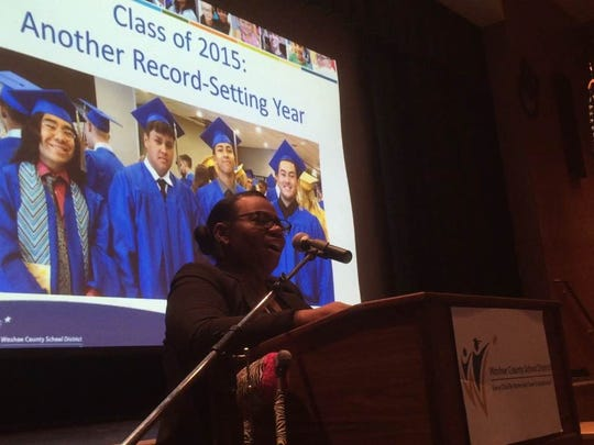 Washoe County School District Superintendent Traci Davis announces a record-setting graduation rate for 2015