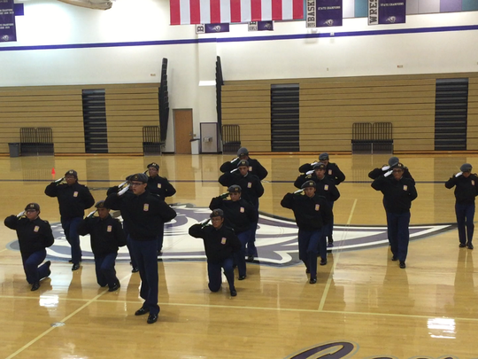 Junior ROTC cadets take part in the Spanish Springs High School Cougar Drill Meet Saturday.