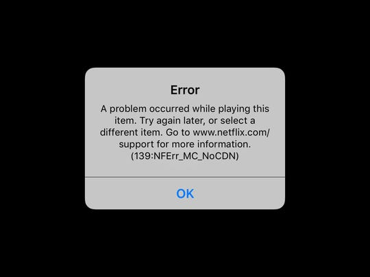 This screen shot from inside the Netflix application on an iPhone shows an error message. It appeared when I tried to access the app on Gogo's Wi-Fi network during an American Airlines flight.