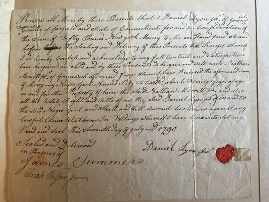 "Daniel Lyon Jr.'s bill of sale -- dated July 7, 1790 -- of ""my Negro girl named Pegg"" to Nathaniel Merritt Jr. of Greenwich, Conn."