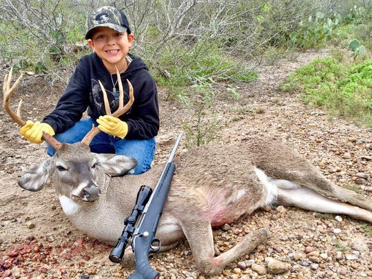 Drew Bonilla, 8, shot this nice buck while hunting with family on a ranch in Webb County. This is Drew's first buck.