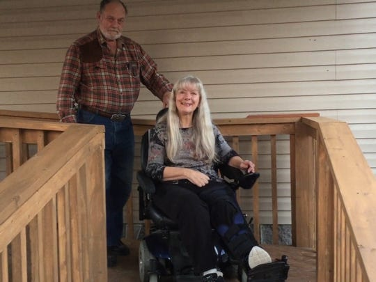 Bill Rainey, left, and Barbara Rainey are from Missouri. Their musical friends in Cumberland City built a ramp for them to get in and out of the house.