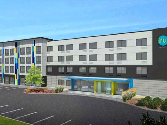 An artist's rendering of the new Hilton Tru hotel to be built in River Ranch is seen.