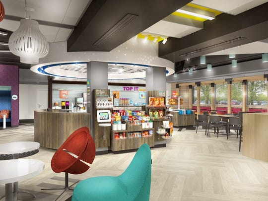 An artist's rendering of the lobby new Hilton Tru hotel to be built in River Ranch is seen.