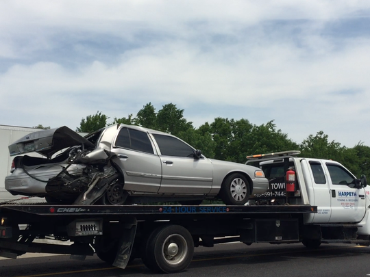 One of the vehicles involved in a crash on I-65 near