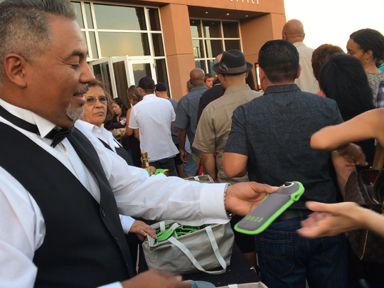 Cell phones were banned at the Chris Rock concert at Fantasy Springs Resort Casino, so guests has to put them into a Yondr pouch that locks them during the show. (June 9, 2017)
