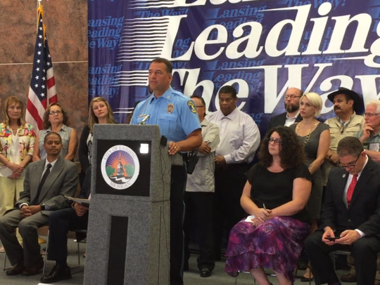 Lansing Police Chief Mike Yankowski speaks at a press