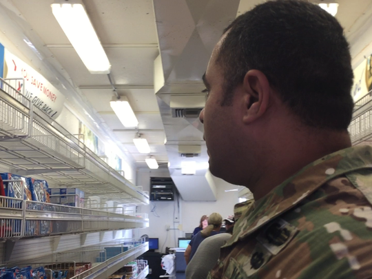 Lt. Col. Jose Hernandez, a logistics officer for the Mobile Field Exchange, traveled to Corpus Christi from Waco to provide basic goods for soldiers deployed in the city after Hurricane Harvey.