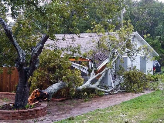 Tree damages house in Lichty Drive, Palm Bay.