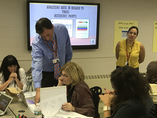 Dariusz Kondratowicz, Linden's data and assessment supervisor, and Reina Irizarry-Clark, instructional coach, moderated a workshop with teachers from Plainfield and School 1 in Linden on using data from student testing to make better decisions in the classroom.