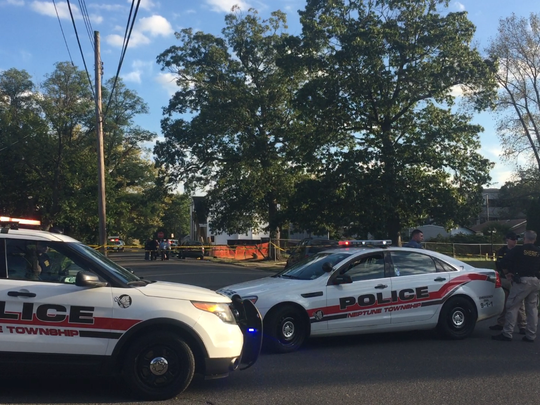 The scene on Sayre Street in Neptune Township on Sept. 29 around 5 p.m. Two victims were killed in a drive-by shooting.