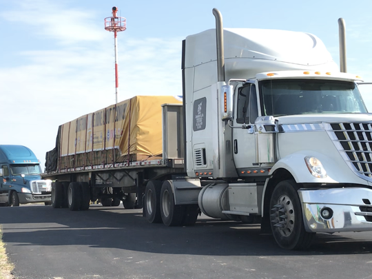 More than 200 tons of building materials were driven from Utah to the Aransas County Airport, the culmination of fundraising efforts in Utah that raised $1 million for local Hurricane Harvey recovery efforts.