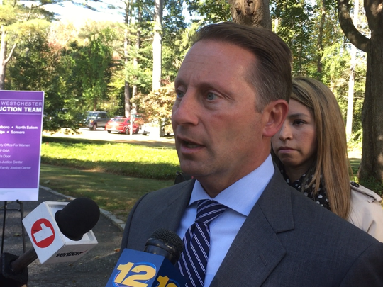 Westchester County Executive Rob Astorino at Pound Ridge Town Hall on Oct. 4, 2017. A new program for victims was unveiled for north-county communities.