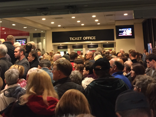 Security lines extended from the Civic Center lobby