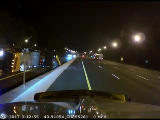 Dashcam footage shows a tractor trailer hitting an