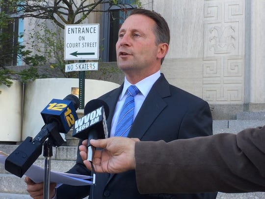 Incumbent Rob Astorino, R, calls out challenger George Latimer, D, over unpaid taxes on a house in Rye. Astorino spoke at an Oct. 18, 2017 news conference at the county municipal building.