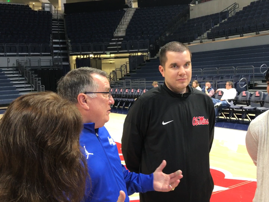 MTSU women's basketball coach Rick Insell (left) and his son, Ole Miss coach Matt Insell (right), are interviewed by SEC Network at The Pavilion in Oxford, Miss., ahead of their game on Nov. 29, 2017.