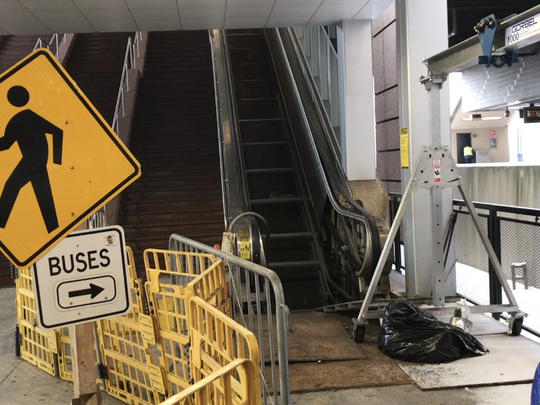 This broken escalator at Secaucus Junction rail station has been out of service for more than a year.
