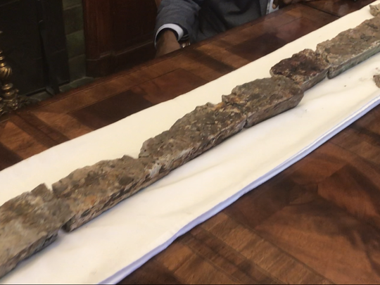 This 40-pound, five-foot-long section of concrete was recovered from the 18-wheeler driven by Earl Egbert last January after it fell through the windshield and penetrated the driver's skull as the truck passed under a footbridge over Route 4 in Teaneck.