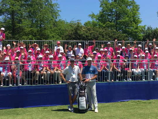 Bubba Watson and his caddie Ted Scott in front of the