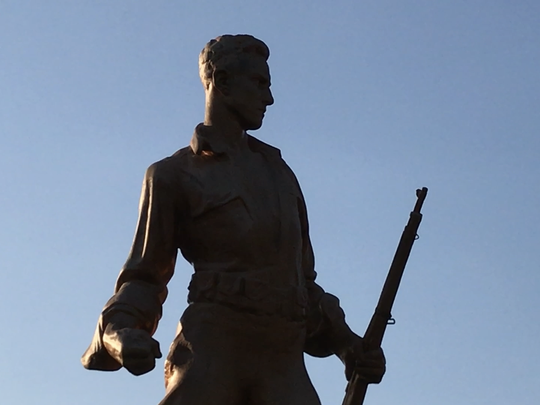 The war memorial outside of borough hall on Ringwood