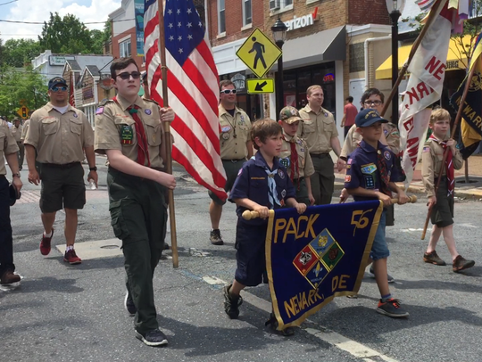 Boy Scouts, military school cadets, soldiers and veterans