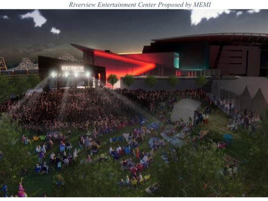 A rendering of the temporary outdoor stage the CSO would build outside it's proposed concert venue at the Banks. The lawn would be built on top of a parking garage being built on Lot 24.