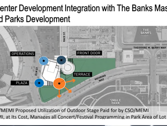 A site plan for the CSO's proposed concert venue. It