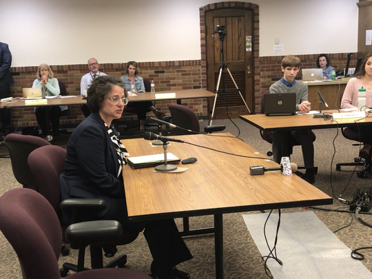 Cindy Olson addressed the Green Bay School Board following its vote to hire her as the new Washington Middle School principal.