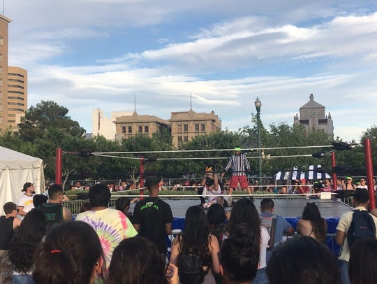 Luchadores at Neon Desert kept the crowd entertained