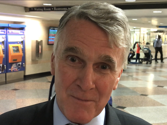 "NJ Transit Executive Director Kevin Corbett at New York Penn Station ""We Are Listening"" event"