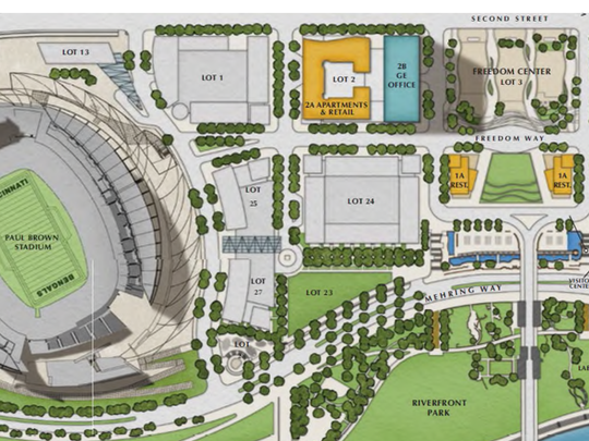 A site plan for the Banks showing Lot 27 adjacent to Paul Brown Stadium where the Cincinnati Symphony wants to develop a music venue. Above that is the larger Lot 24, where the Bengals want the music venue