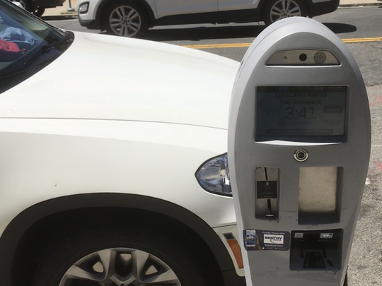 A smart parking meter in Palisades Park.