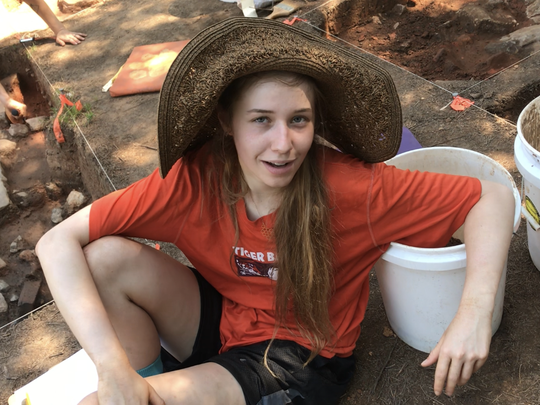 Clemson student Katherine Winterstein talks about her work on an archaeological dig at the site of Fort Hill.
