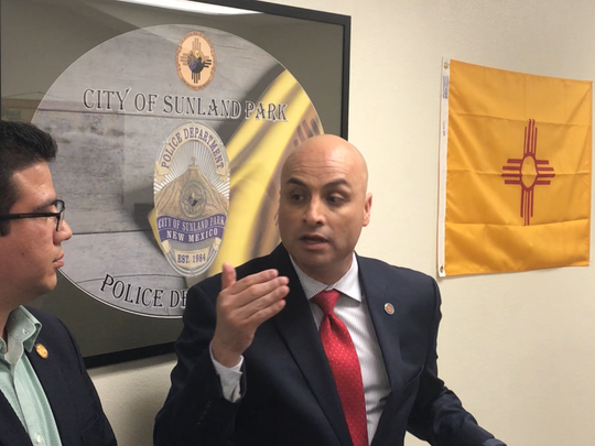 New Mexico Attorney General Hector Balderas (center) visited Sunland Park Monday to discuss border security and immigration issues with New Mexico and Mexico law enforcement officials.